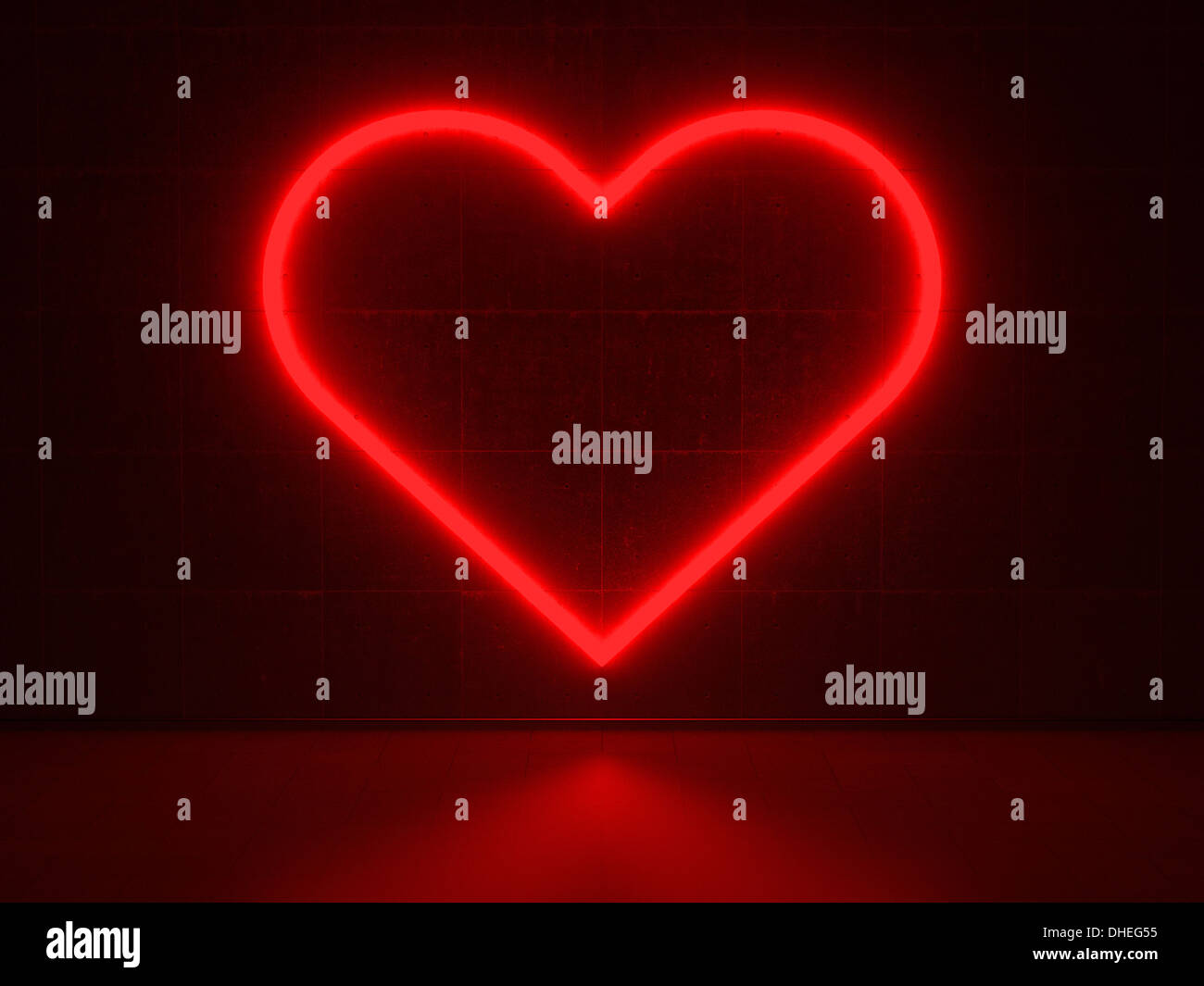 Red Heart - Series Neon Signs - Stock Image
