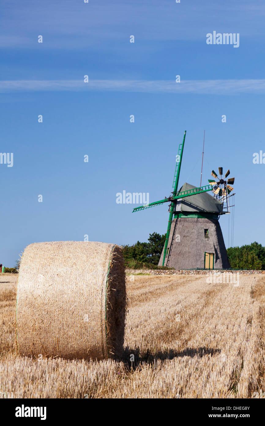 Old Dutch windmill, Nebel, Amrum, North Frisian Islands, Nordfriesland, Schleswig Holstein, Germany, Europe - Stock Image