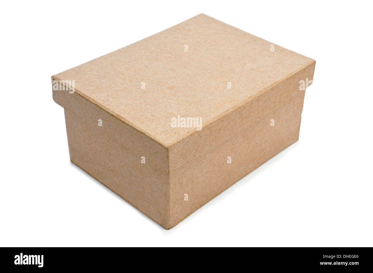 a cardboard box with lid on a white background - Stock Image