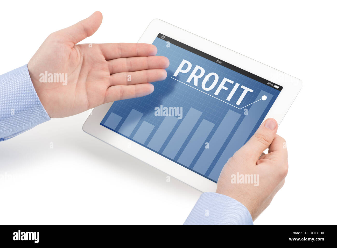 Mans hands holding a tablet computer and directing toward the screen on which displays the profit message, isolated - Stock Image