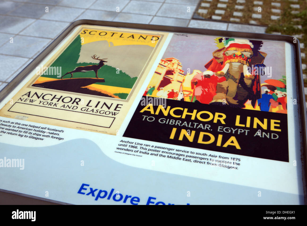 Posters advertising passage from Glasgow to New York, Gibraltar, Egypt and India on the Anchor Line Steam ships - Stock Image