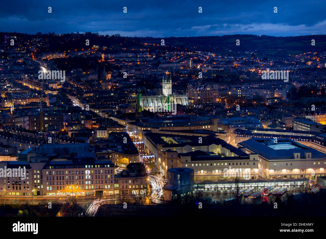 An aerial view of central Bath shows the Abbey and Southgate development at dusk, Bath, Avon, England, United Kingdom, Europe - Stock Image