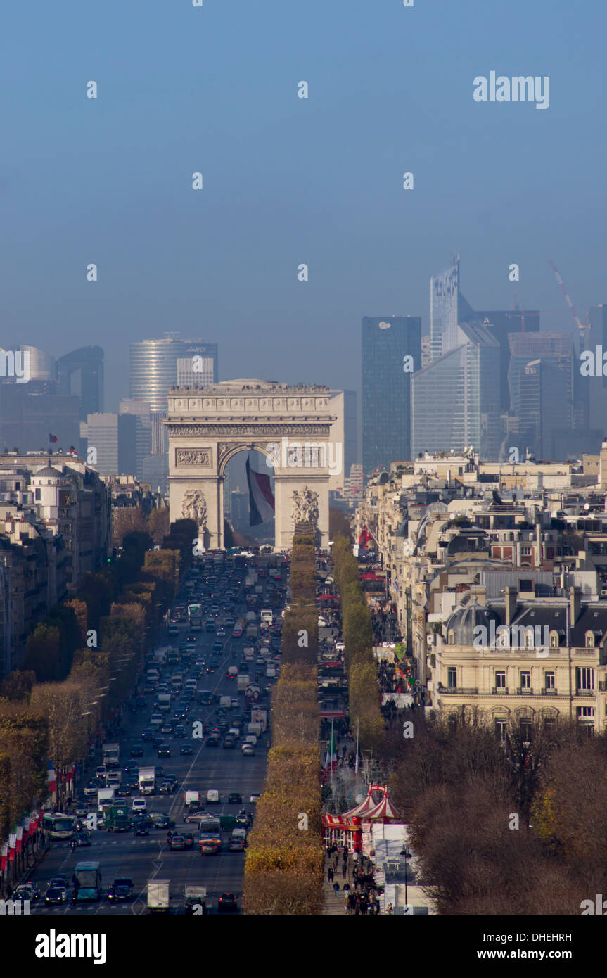 Elevated view of Champs Elysees, Arc de Triomphe and La Defense, Paris, France, Europe - Stock Image