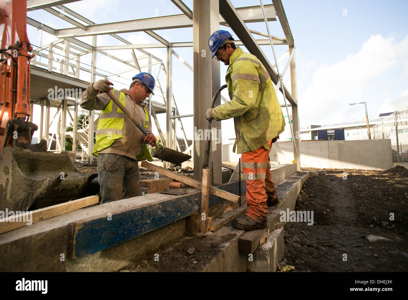 Construction work on a building site in Bolton , Greater Manchester - Stock Image