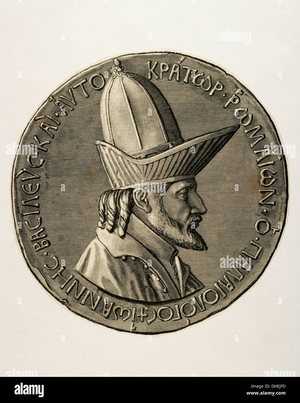 John VIII Palaiologos or Palaeologus (1392-1448). Penultimate reigning  Byzantine Emperor, ruling from 1425 to 1448. Engraving.