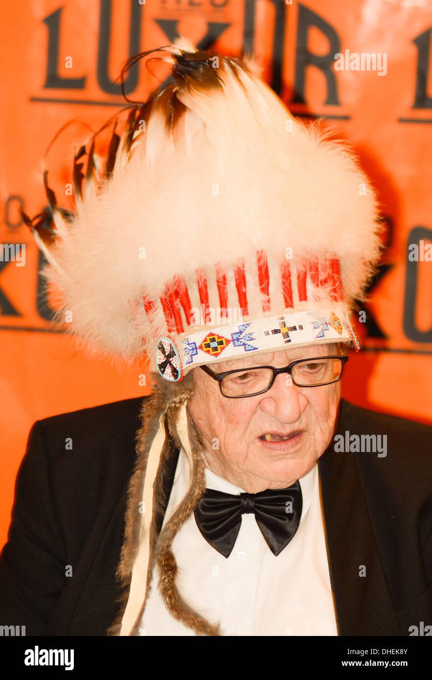 Prague, Czech Republic. 7th November 2013.  Czech traveler, ethnographer and writer Miroslav Stingl presents his new book 'Indiani na valecne stezce' ('Indians on the warpath', on November 7, 2013, in Prague, Czech Republic. Credit:  Radek Detinsky/Alamy Live News - Stock Image