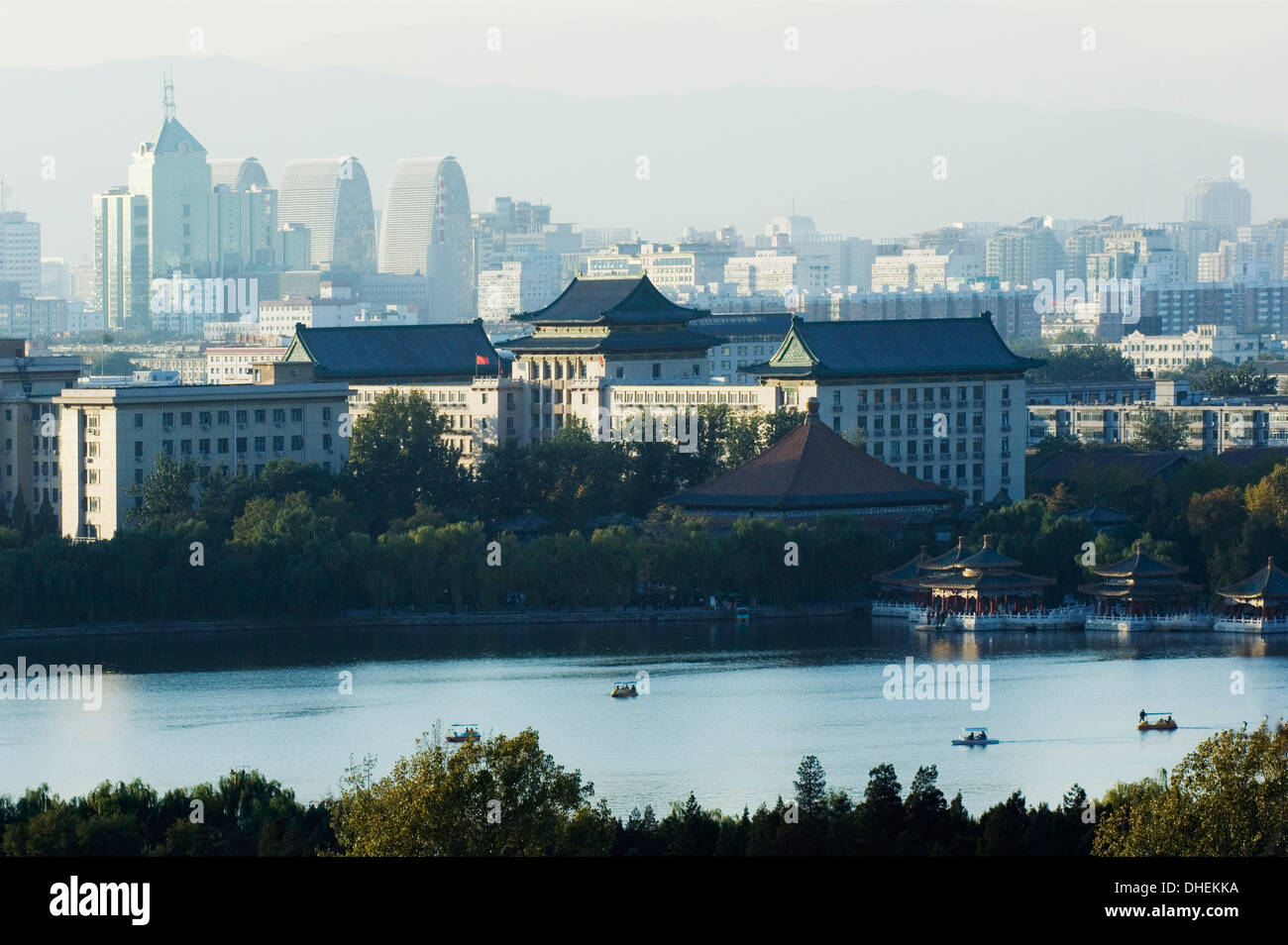 Panoramic city view of Beihai Lake and the Western Hills, Beijing, China, Asia Stock Photo
