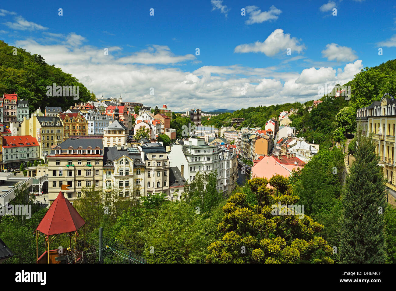Historic spa section of Karlovy Vary, Bohemia, Czech Republic, Europe - Stock Image