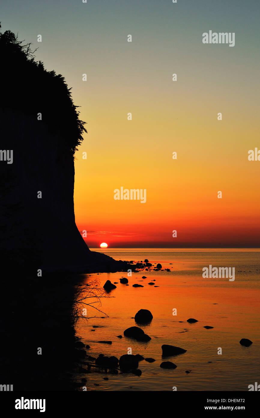 Sunrise at the chalk cliffs, Jasmund National Park, Ruegen Island, Mecklenburg-Vorpommern, Germany, Europe Stock Photo