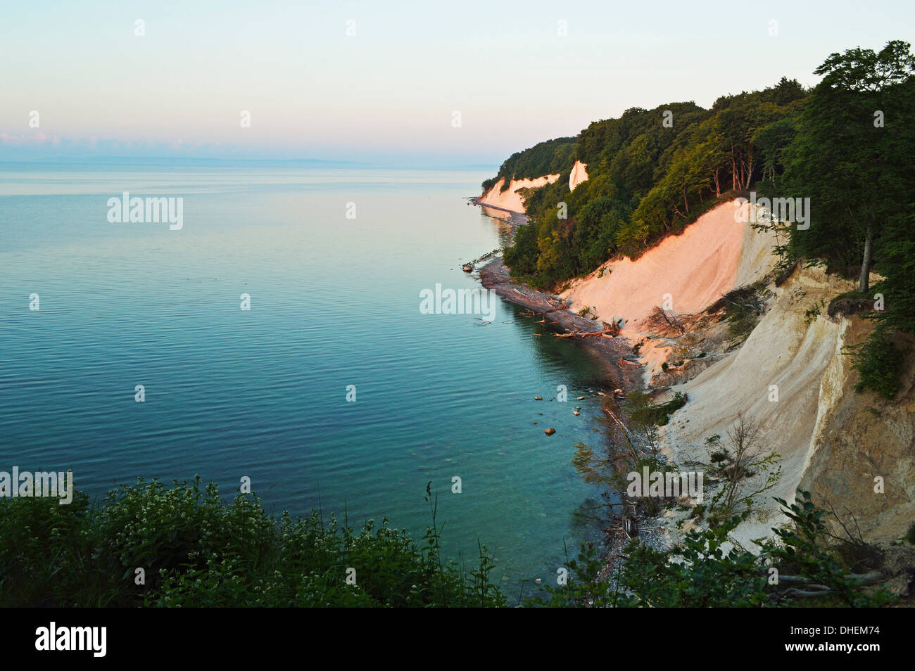 Sunrise at the chalk cliffs, Jasmund National Park, Ruegen Island, Mecklenburg-Vorpommern, Germany, Europe Stock Photo