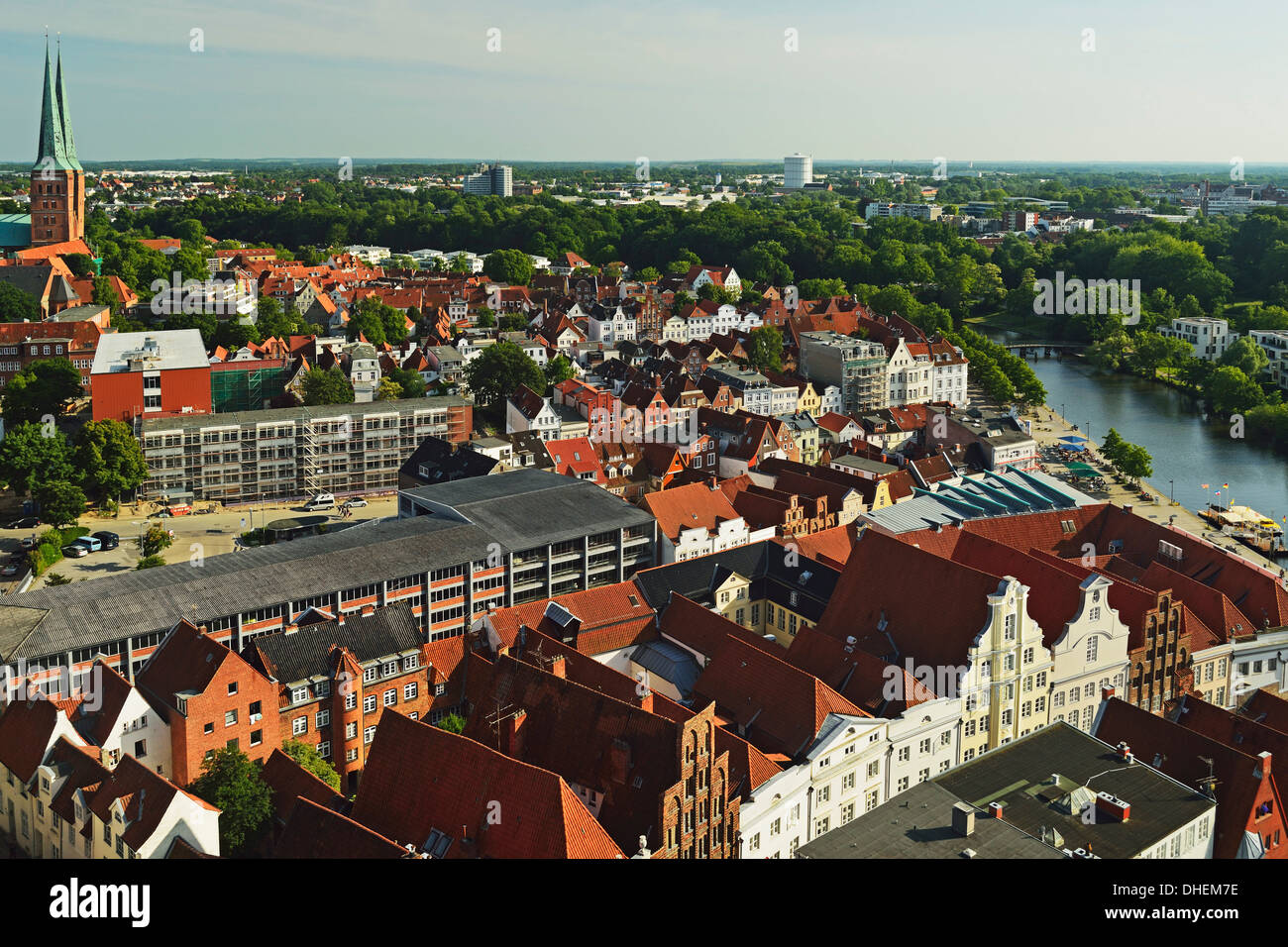 Aerial view of Lubeck, Schleswig-Holstein, Germany, Europe - Stock Image