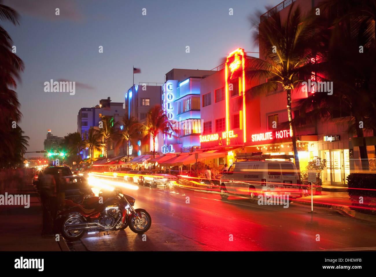 Ocean Drive, South Beach, Art Deco district, Miami Beach, Miami, Florida, United States of America, North America - Stock Image