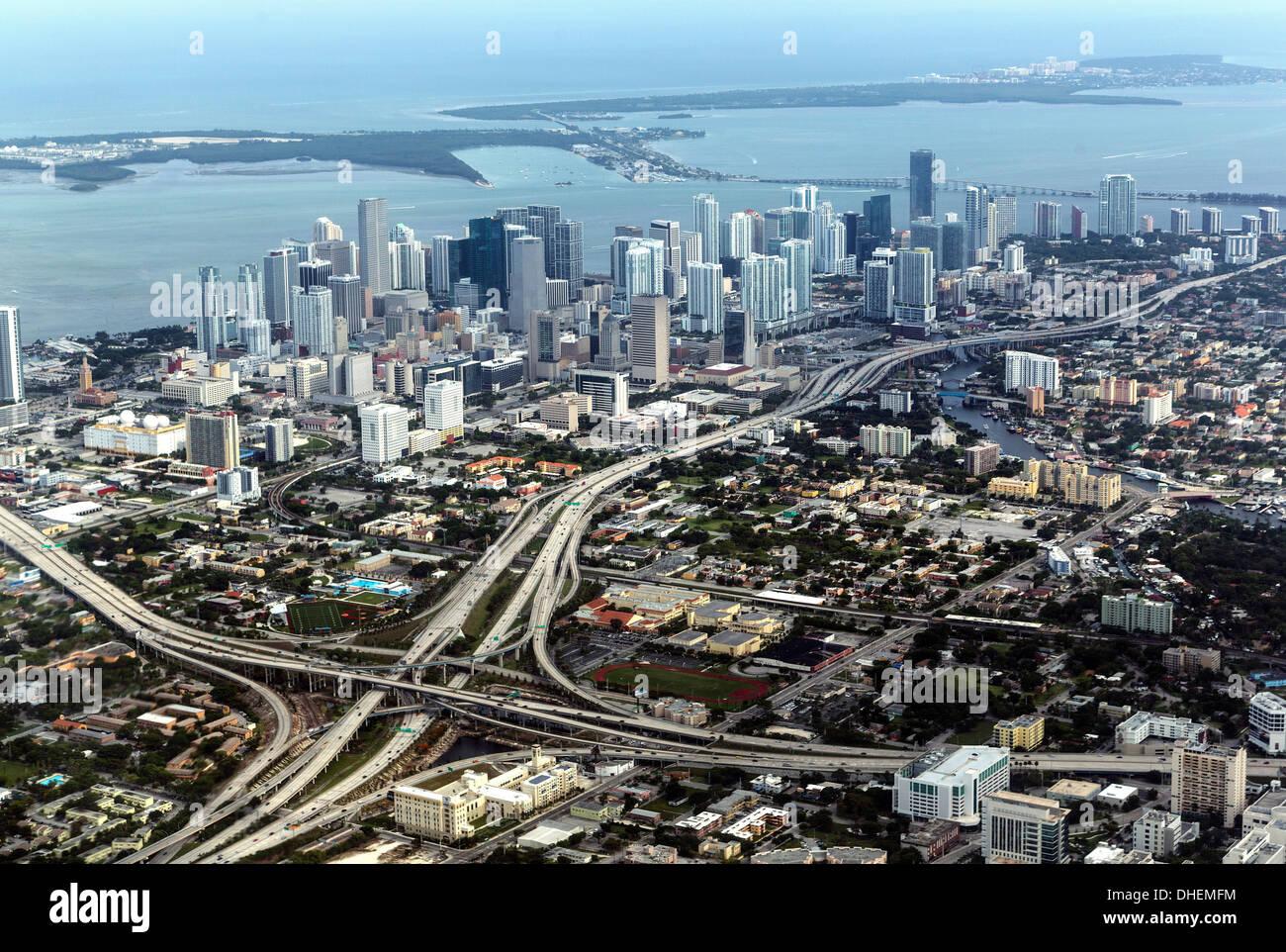 Aerial view of Miami, Florida, United States of America, North America - Stock Image