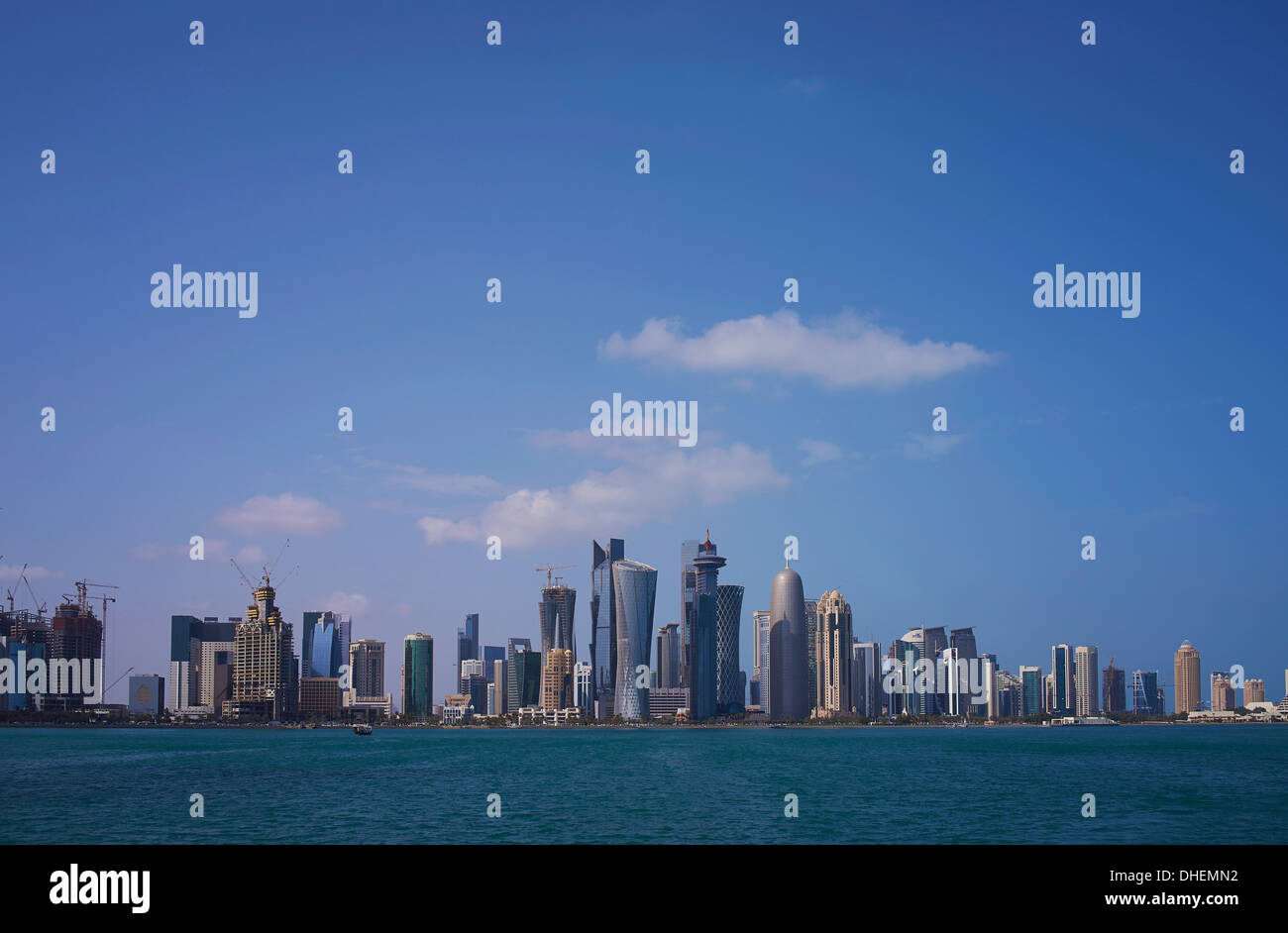 Futuristic skyscrapers downtown in Doha, Qatar, Middle East - Stock Image