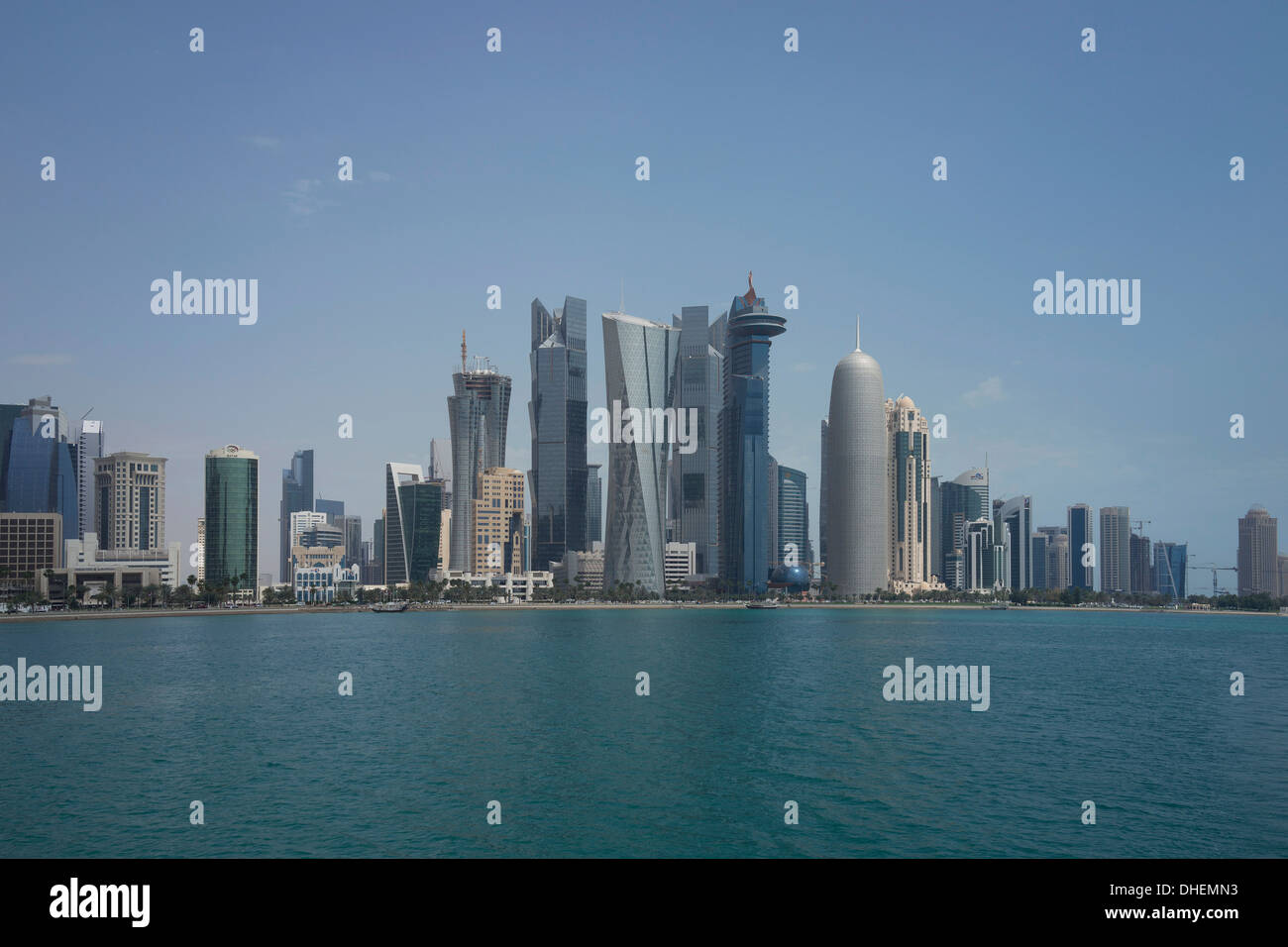 Futuristic skyscrapers in Doha, Qatar, Middle East Stock Photo