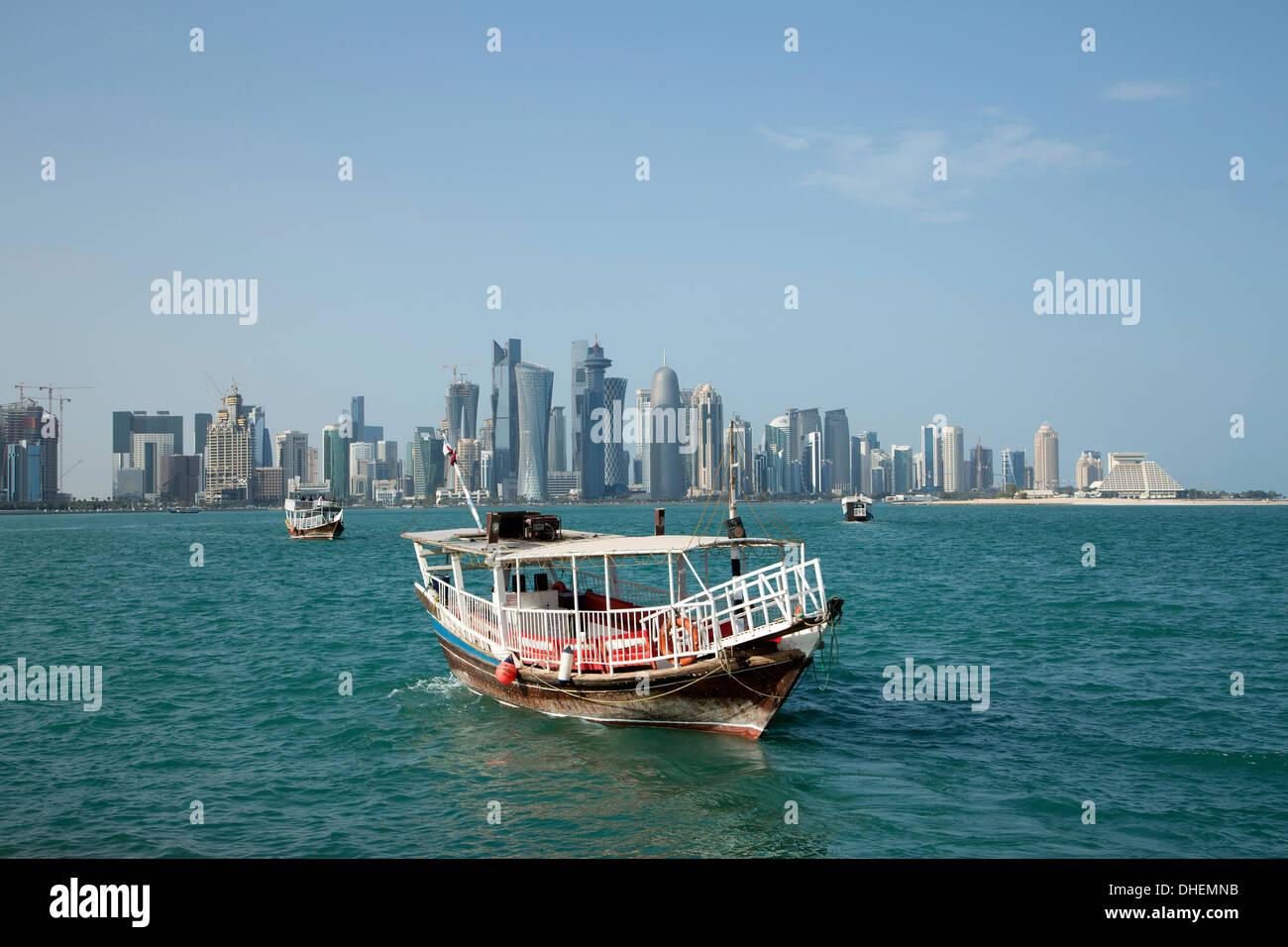 Futuristic skyscrapers in Doha, Qatar, Middle East Stock Photo