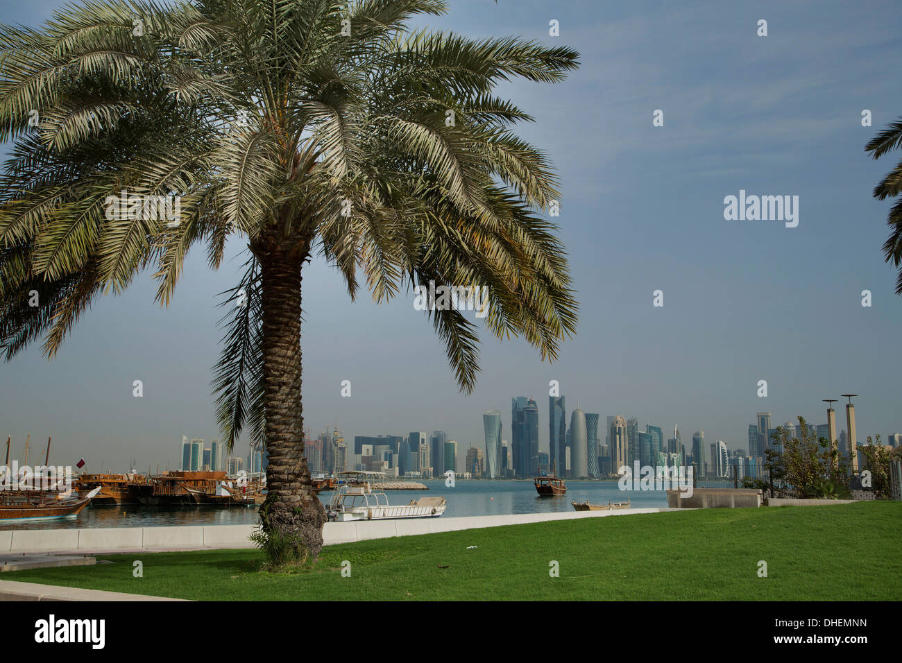Futuristic skyscrapers on the distant Doha skyline, Qatar, Middle East - Stock Image