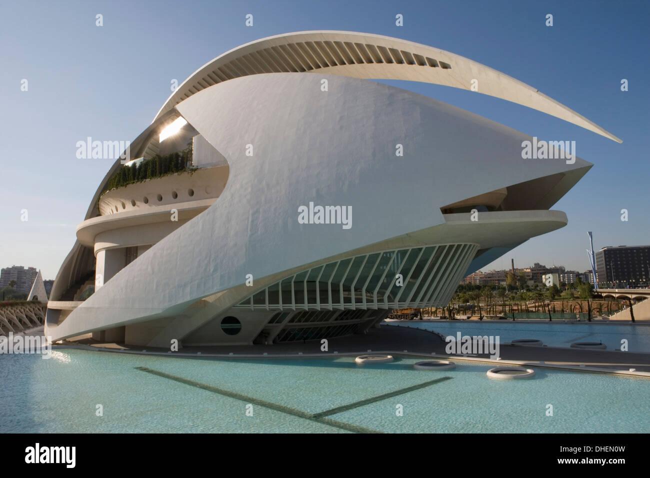 Palau de les Arts, Ciutat de les Arts i de les Ciencies, architect Santiago Calatrava, Valencia, Costa del Azahar, Spain - Stock Image