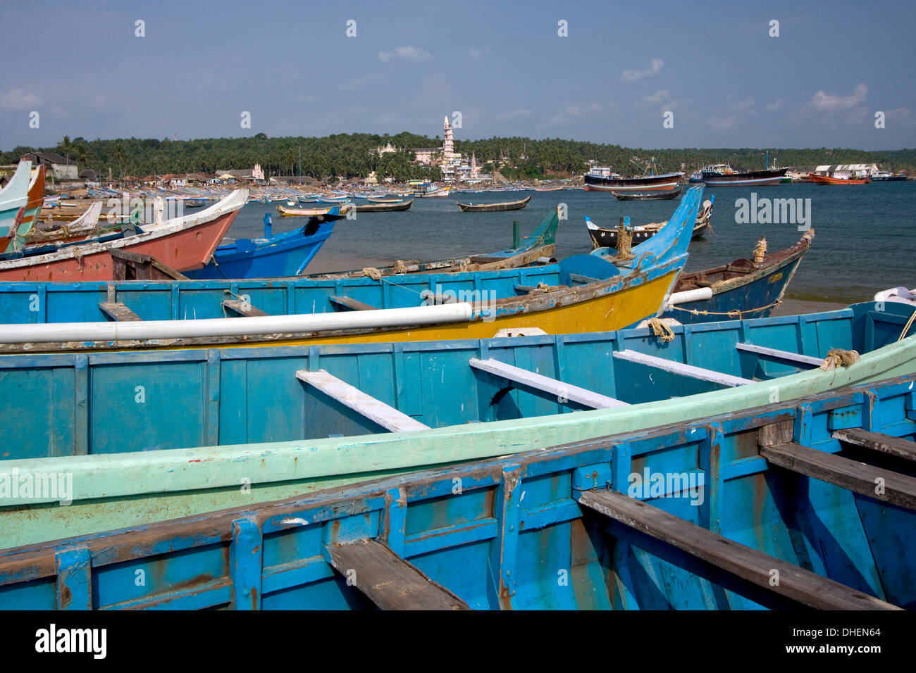 Fishing boats, Vizhinjam, Trivandrum, Kerala, India, Asia - Stock Image