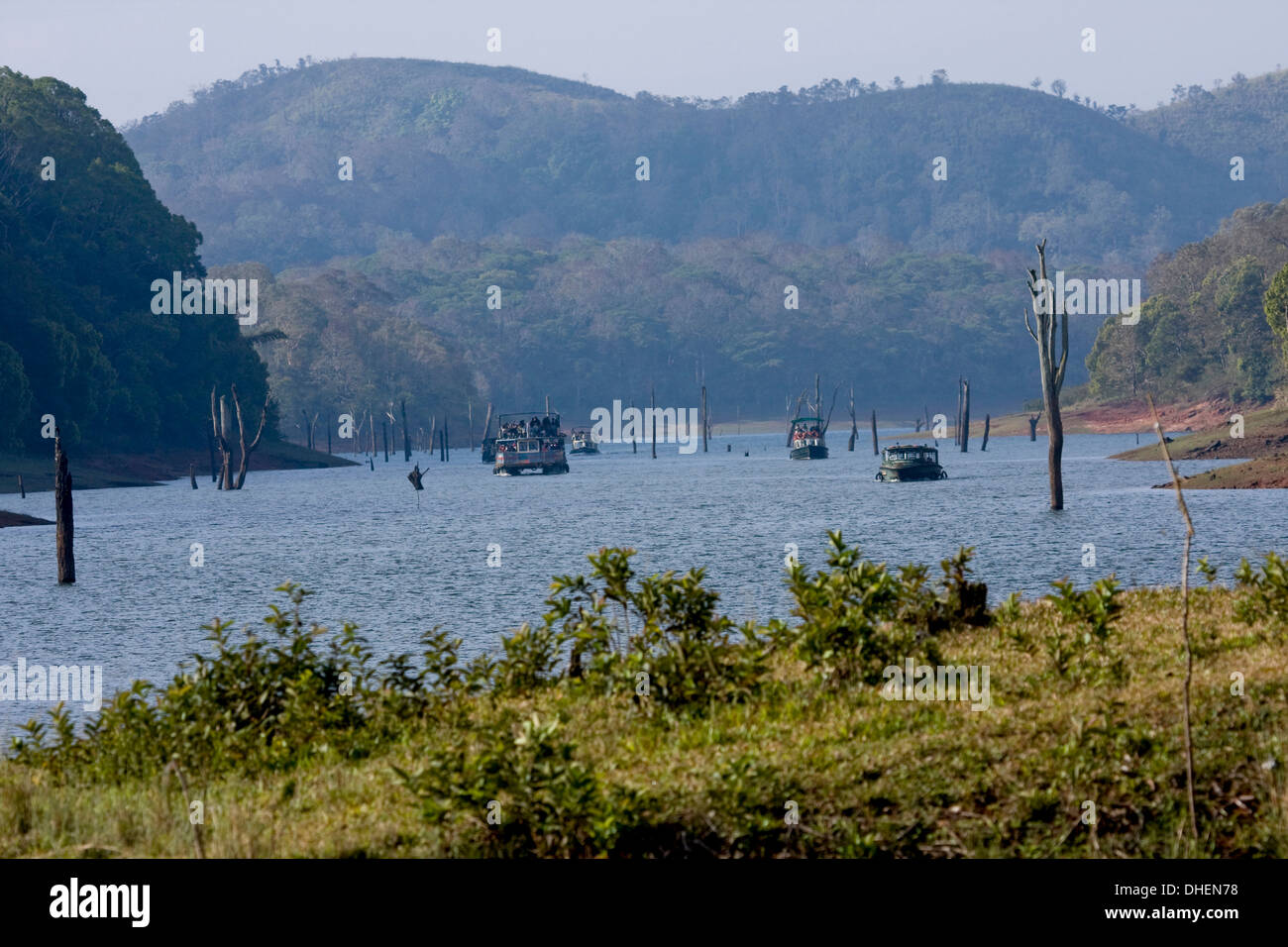 Boating, Periyar Tiger Reserve, Thekkady, Kerala, India, Asia - Stock Image