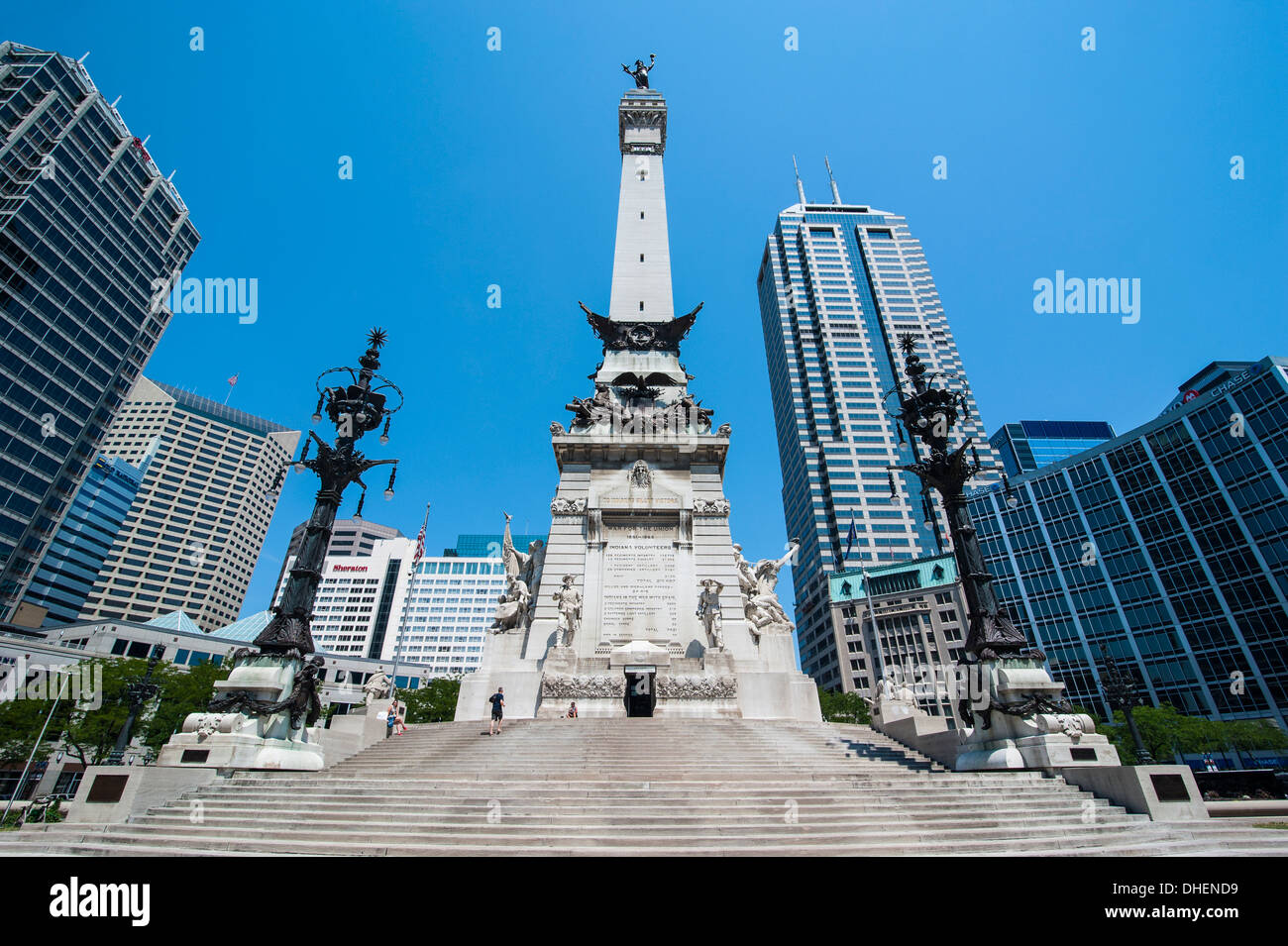 Soldiers' and Sailors' Monument, Indianapolis, Indiana, United States of America, North America - Stock Image