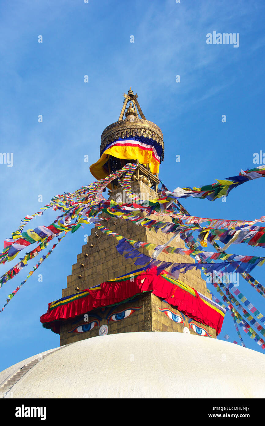 All seeing eyes of the Buddha, Boudhanath Stupa, UNESCO World Heritage Site, Kathmandu, Nepal, Asia - Stock Image