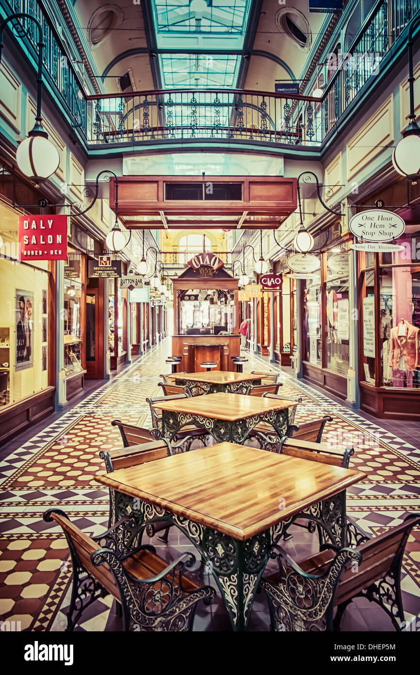 The wonderful character of the Adelaide Arcade shopping mall in Adelaide, Australia. - Stock Image