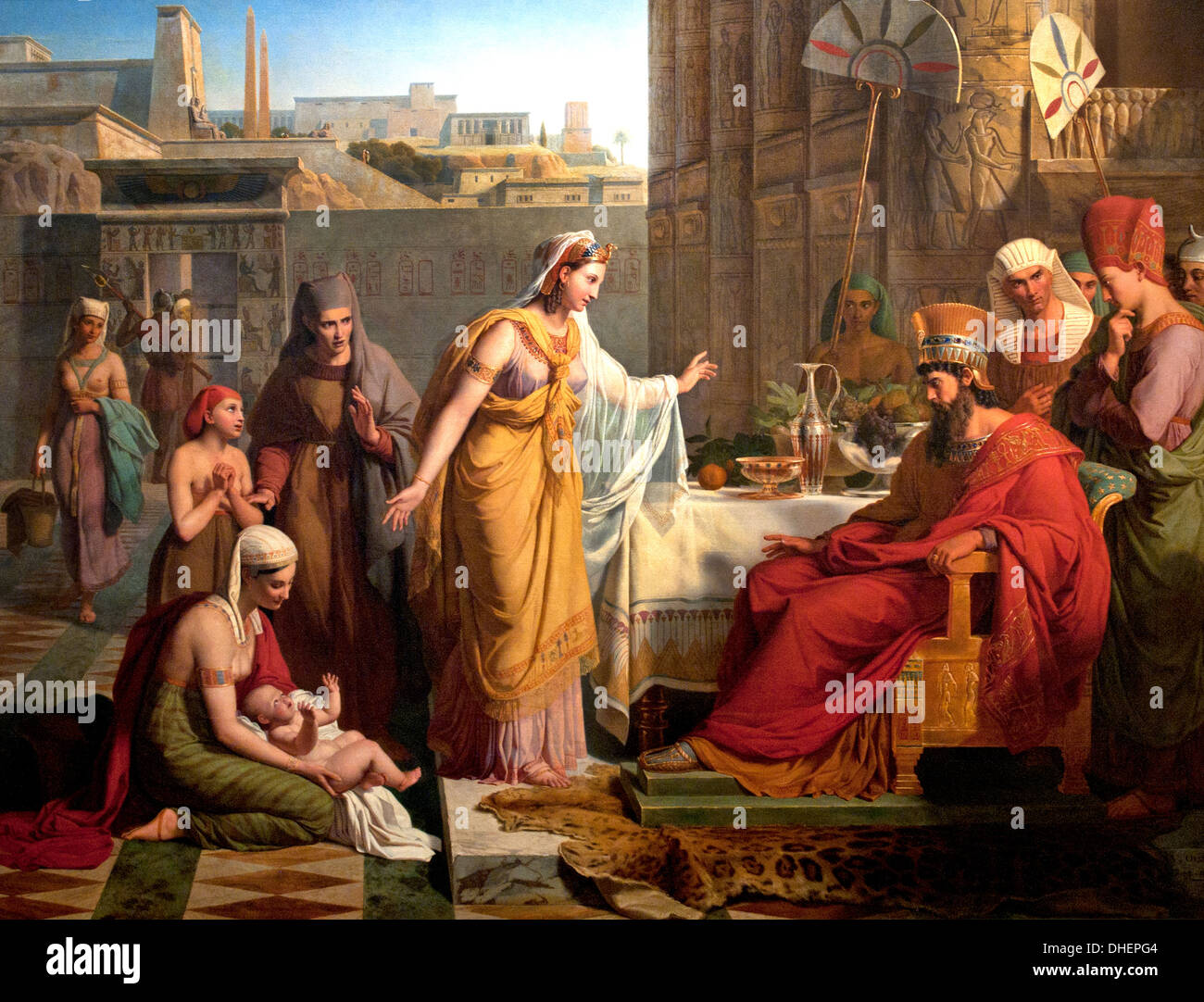 Child Moses presents a Pharaoh 1830 Victor Orsel France - Stock Image