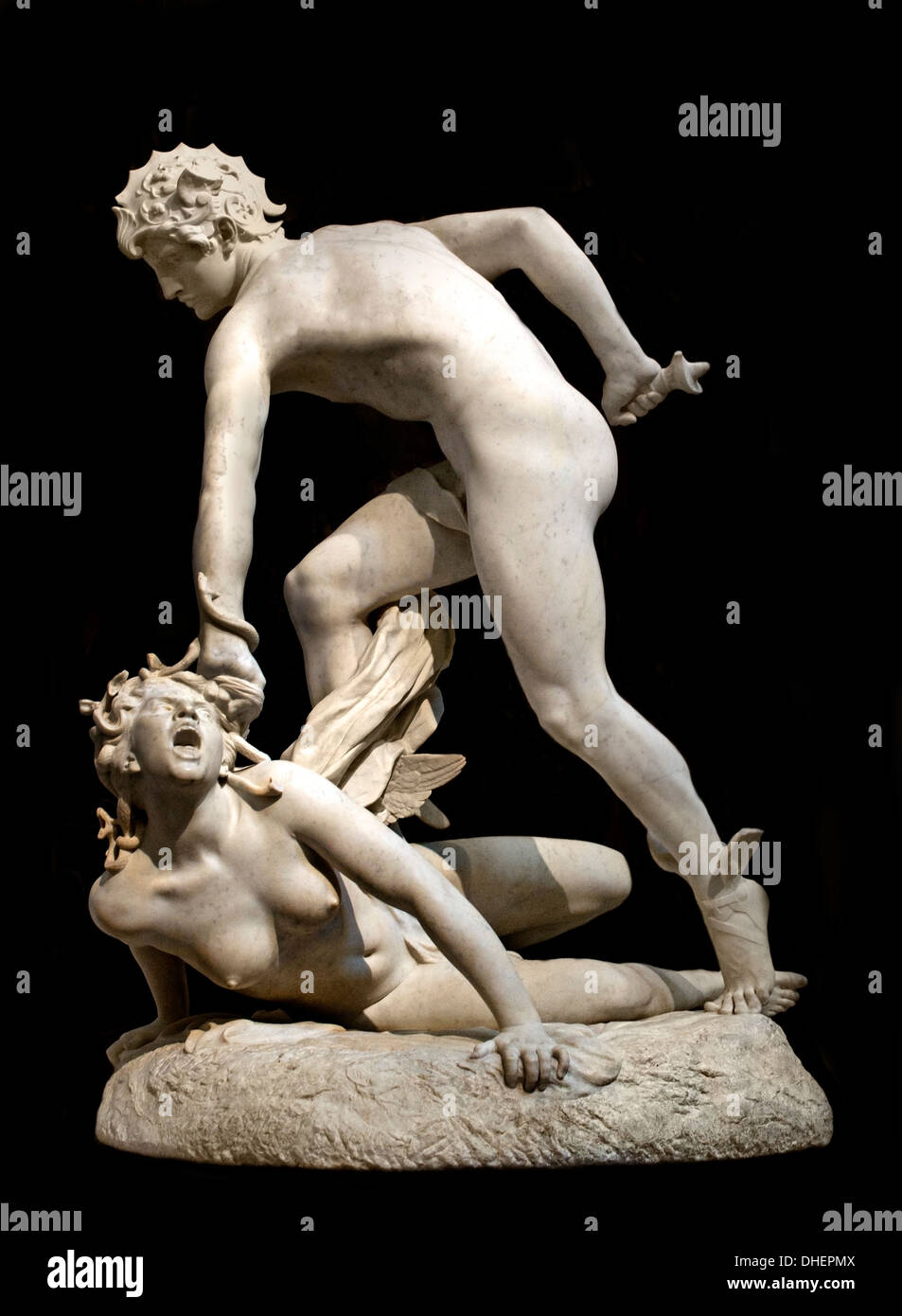 Perseus and the Gorgon 1890 Laurent Marqueste 1848-1920 France ( Perseus founder of Mycenaee first hero Greek mythology Stock Photo
