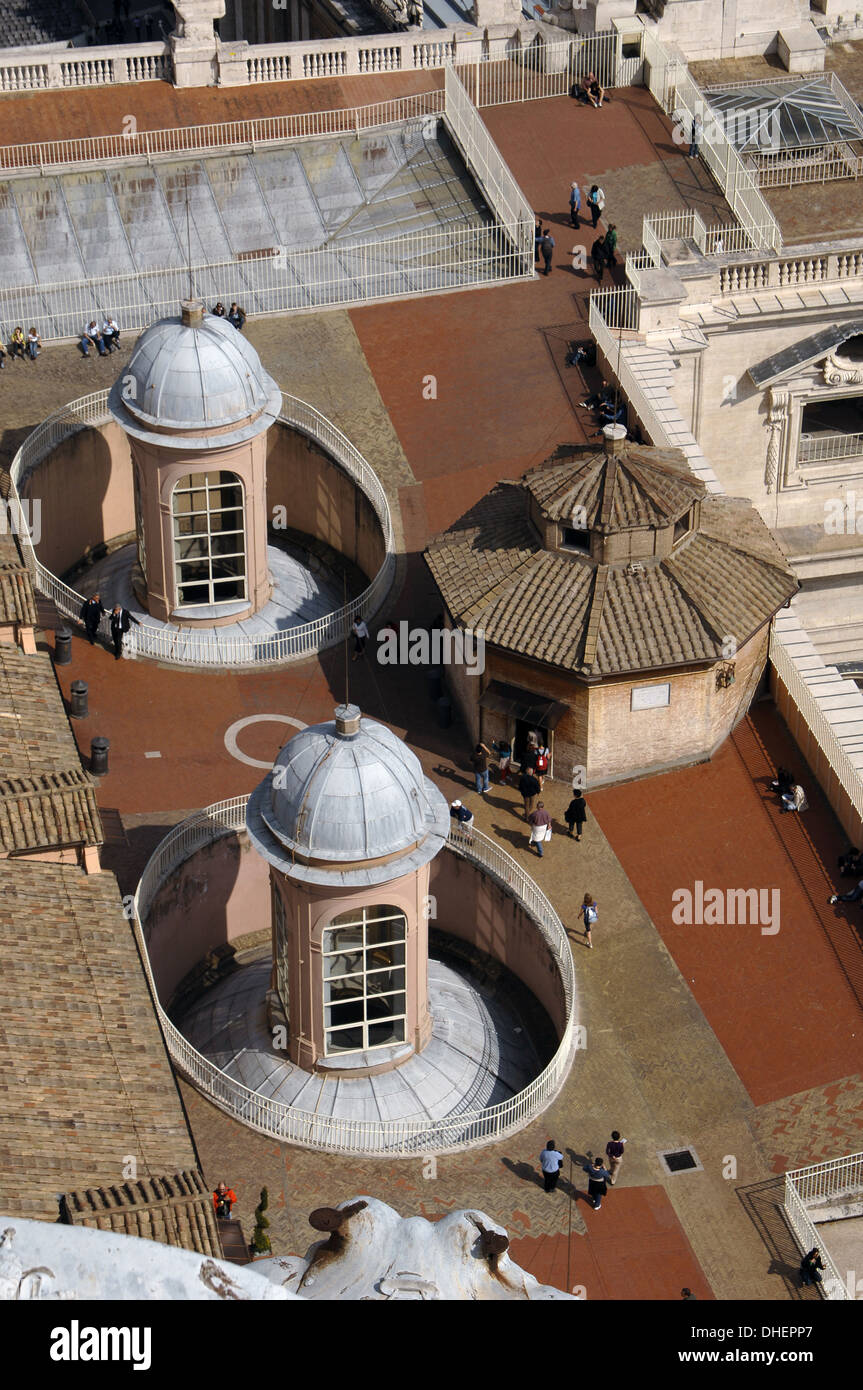 Vatican City. Tourists on the roof of St. Peter's Basilica. - Stock Image