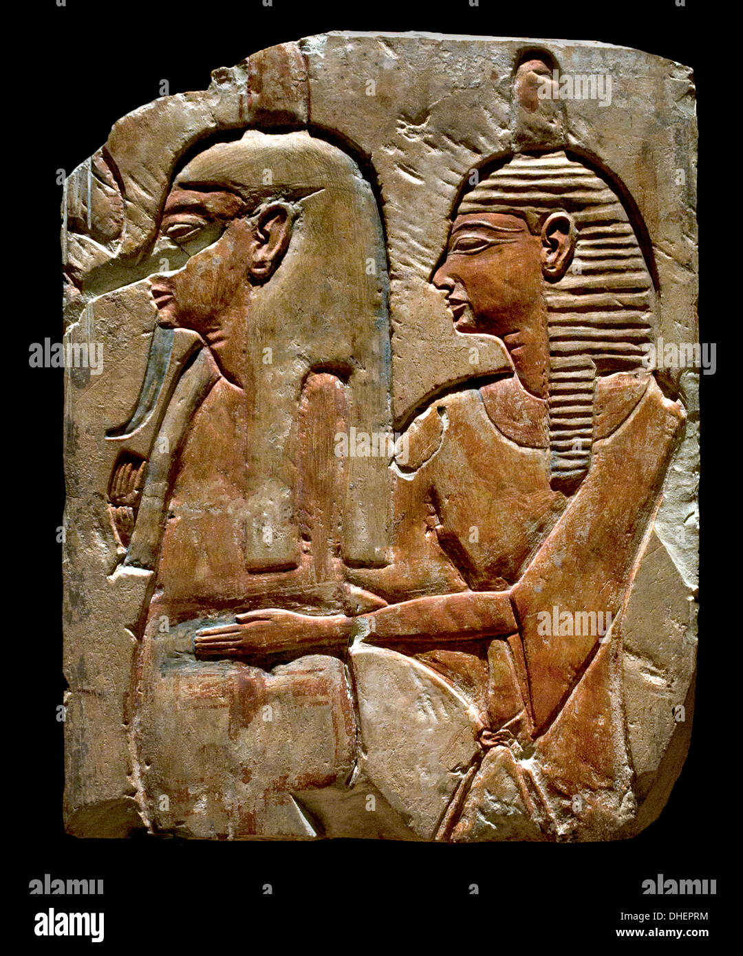 Bas Relief of the wall of tomb Priest supporting the mummy of the deceased 20 Dynasty 1186-1070 BC Egypt Egyptian - Stock Image