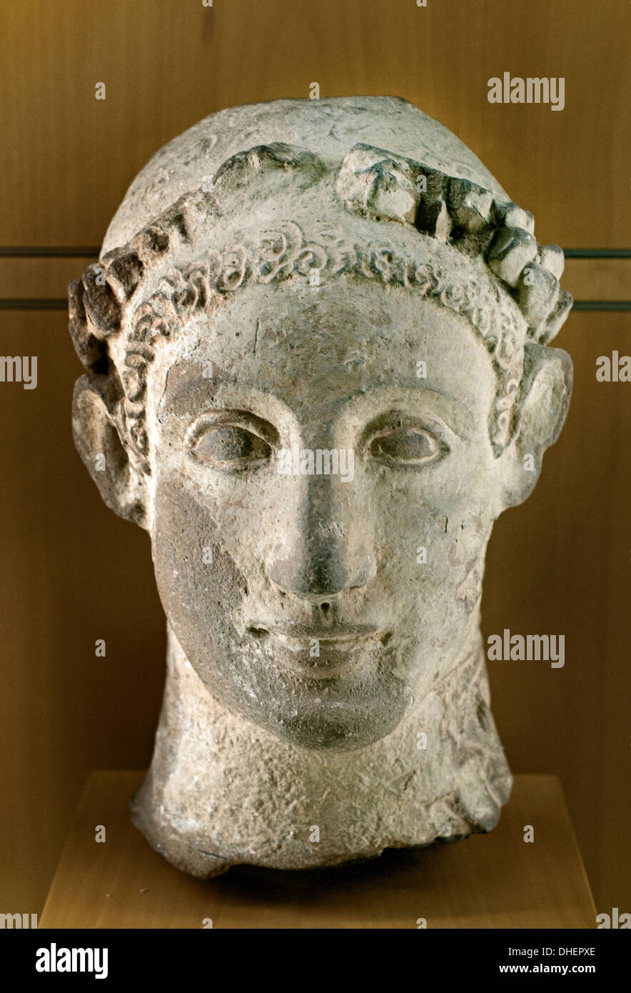 Head of a Young Man 325 BC Hellenistic era Cyprus Greek Greece - Stock Image
