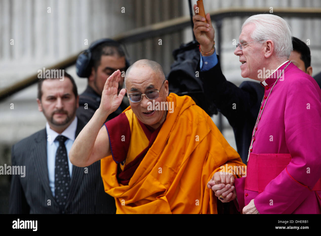 His Holiness the Dalai Lama arrives to St Paul's Cathedral to receive the 2012 Templeton Prize in London Britain, on 14 May 2012 - Stock Image
