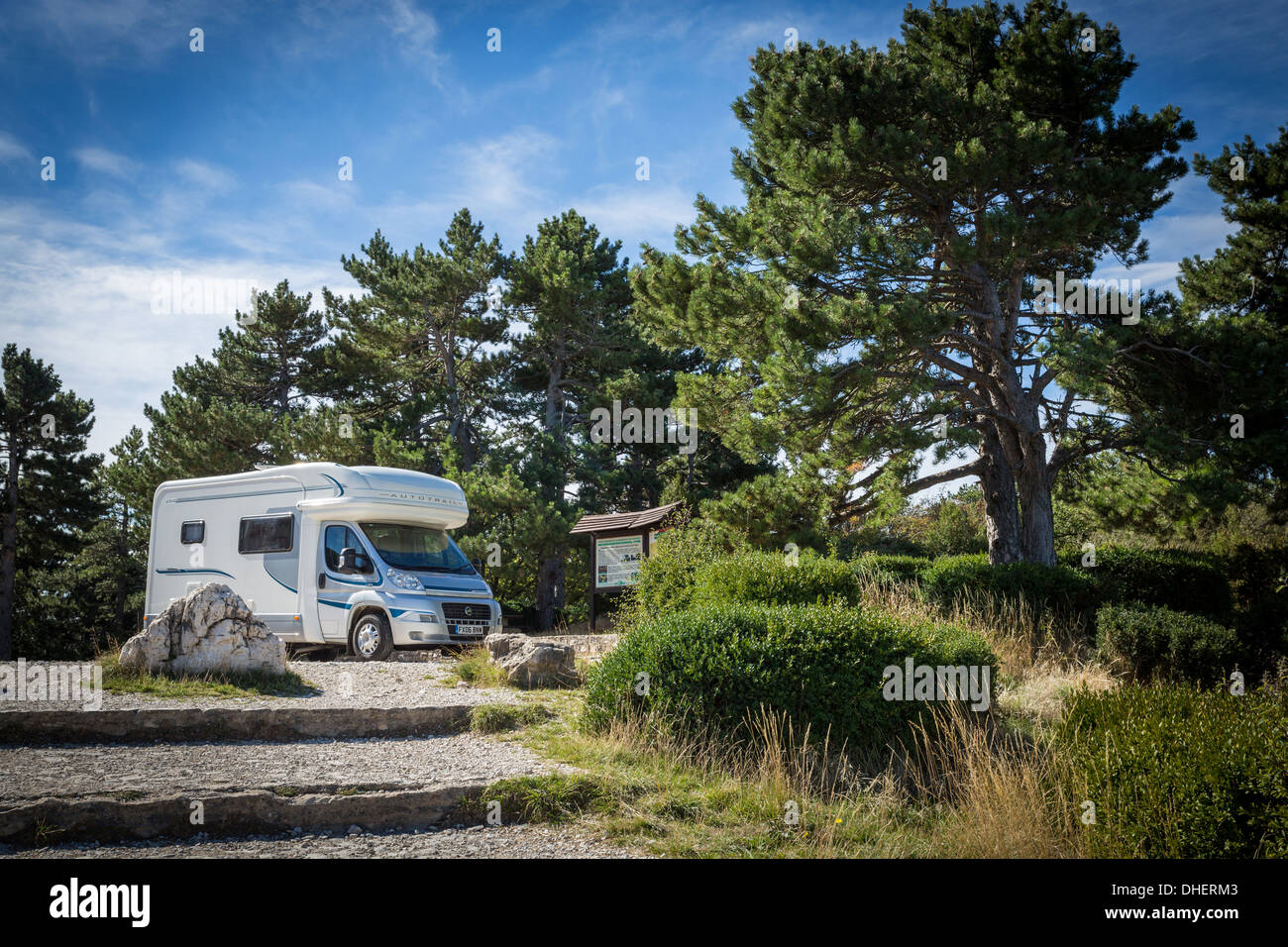 Motorhome parked in lay-by on road to summit of Mt Ventoux, France. - Stock Image