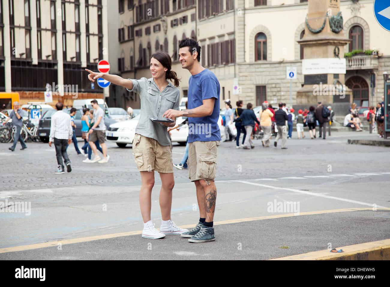 Young couple on city break, Florence, Tuscany, Italy - Stock Image