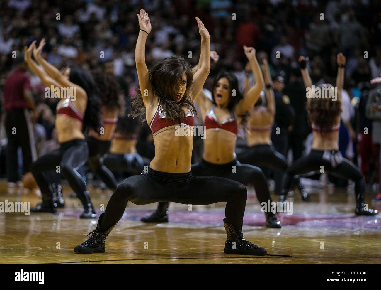 Miami, Florida, USA. 7th Nov, 2013. The Miami Heat Dancers perform during a timeout at AmericanAirlines Arena in Stock Photo