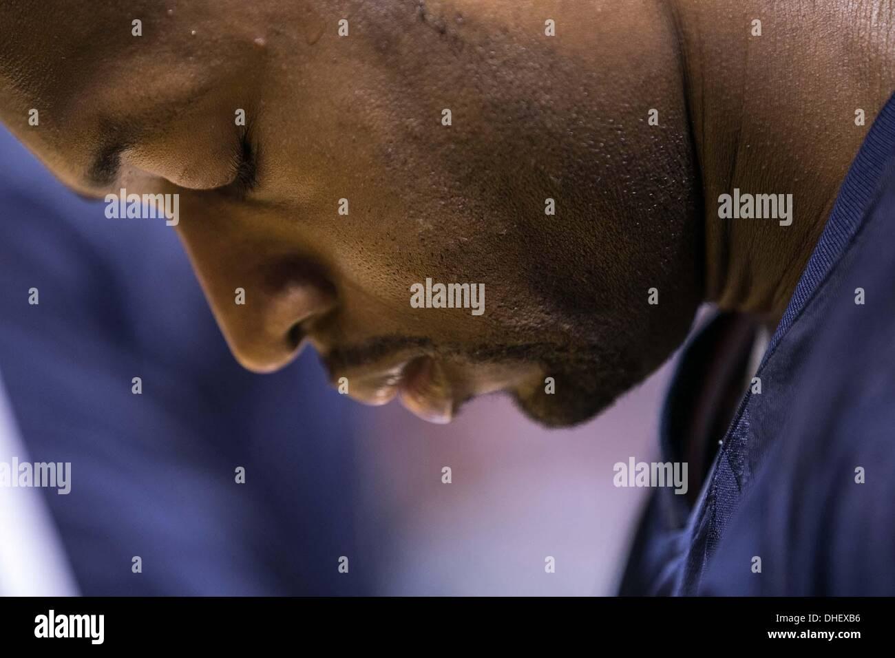 Miami, Florida, USA. 7th Nov, 2013. Miami Heat shooting guard Dwyane Wade (3) during the National Anthem at AmericanAirlines Stock Photo