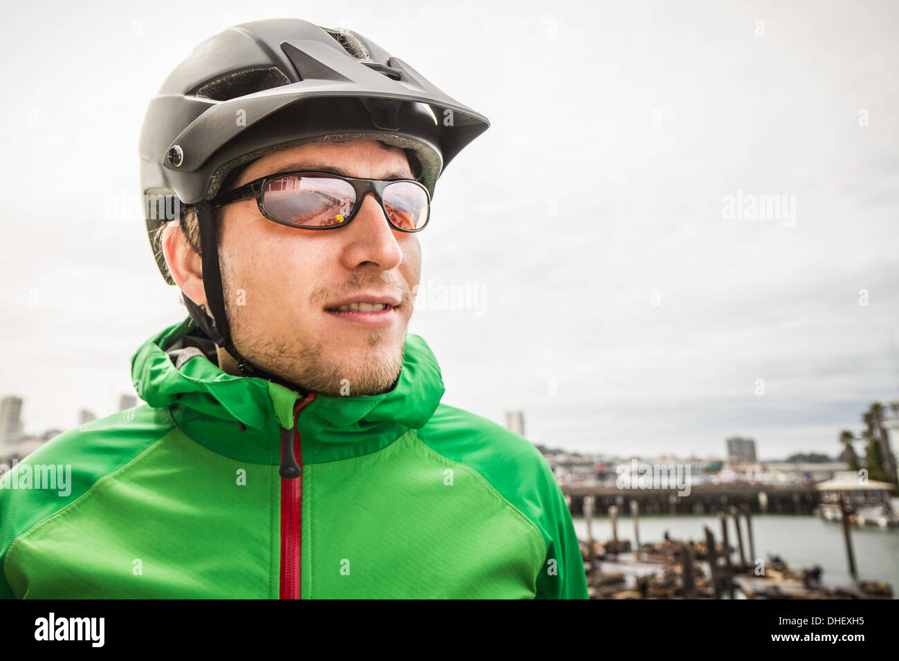 Discovering city by bike - Stock Image