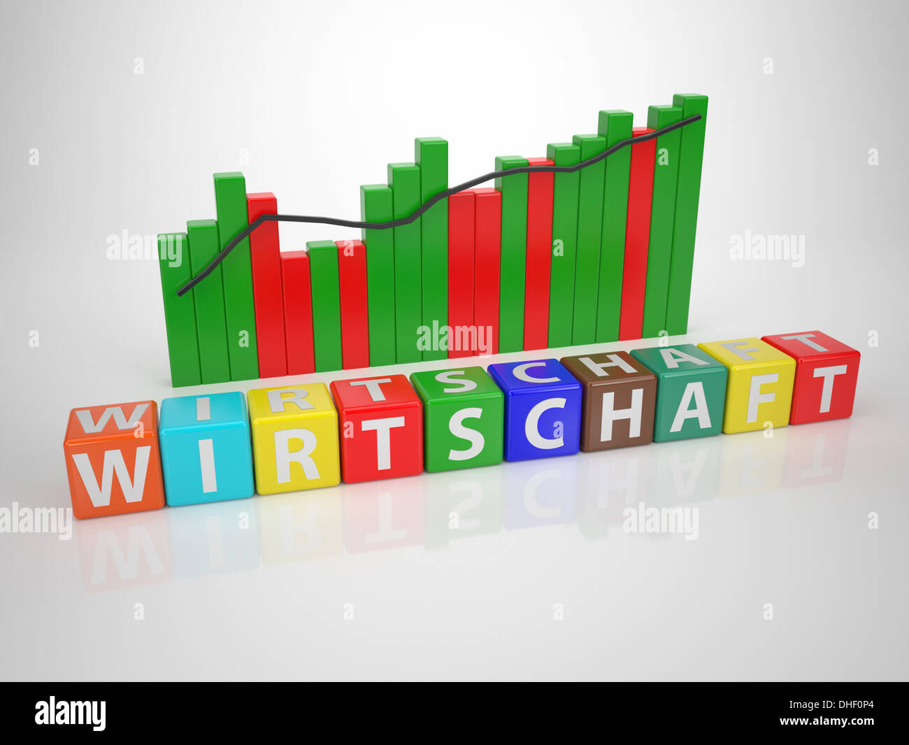 Wirtschaft- Series Words out of Letterdices Stock Photo