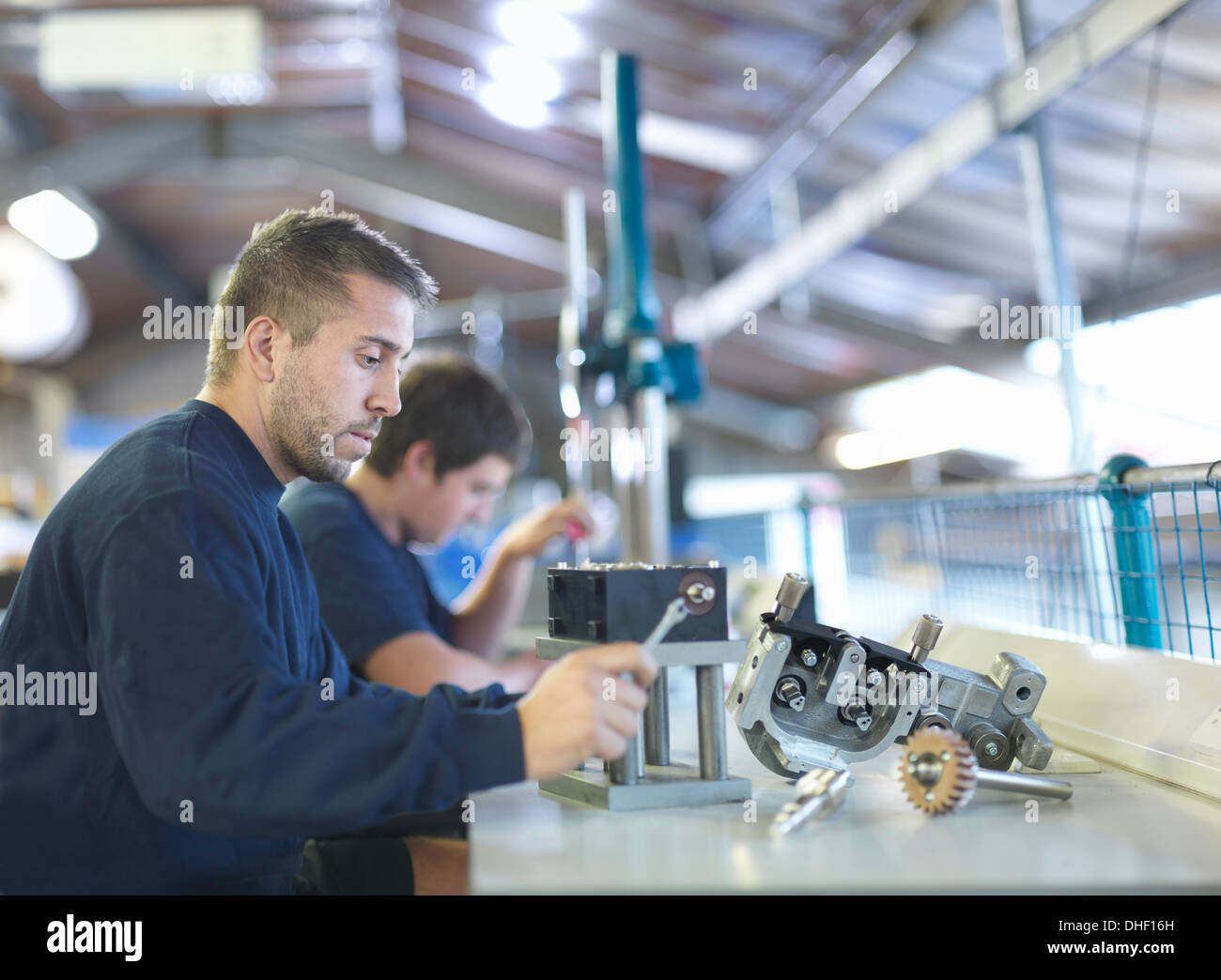 Engineer working on production line in factory Stock Photo