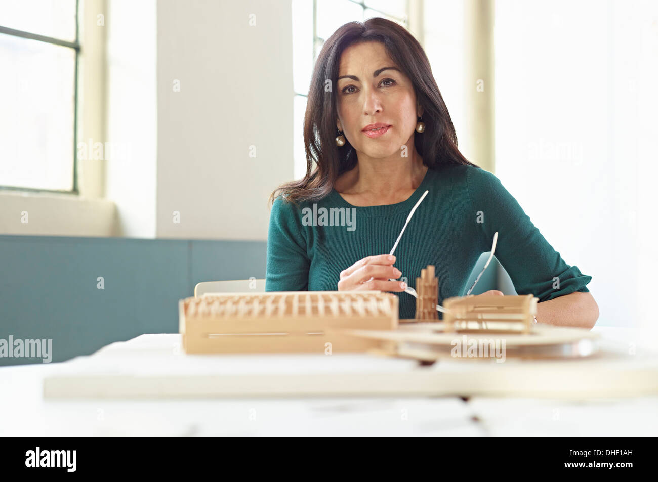 Architect with model - Stock Image
