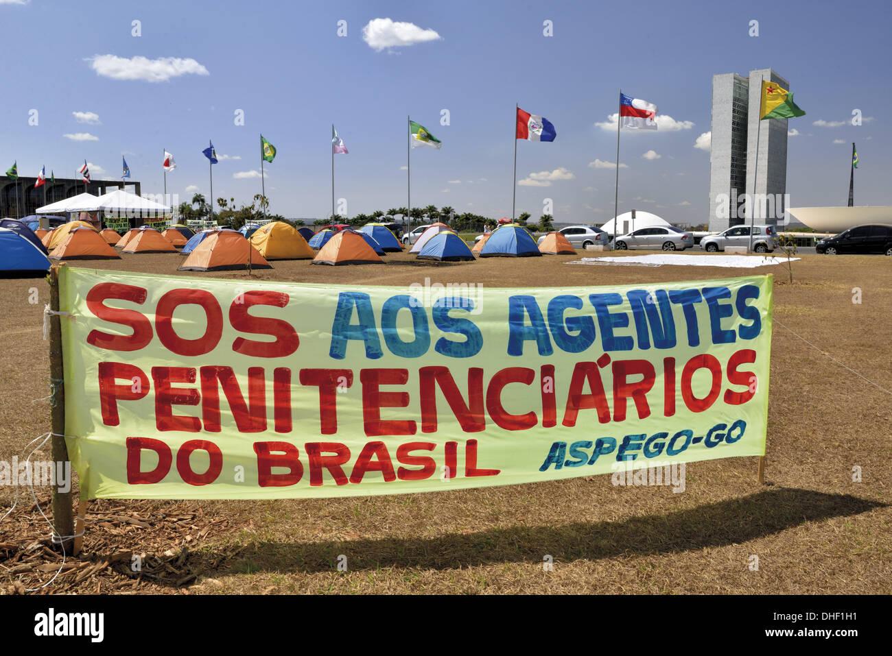 Brazil, Brasilia, manifestation, demonstration, political manifestation, Acampamento Uniao, society, protests, people Stock Photo