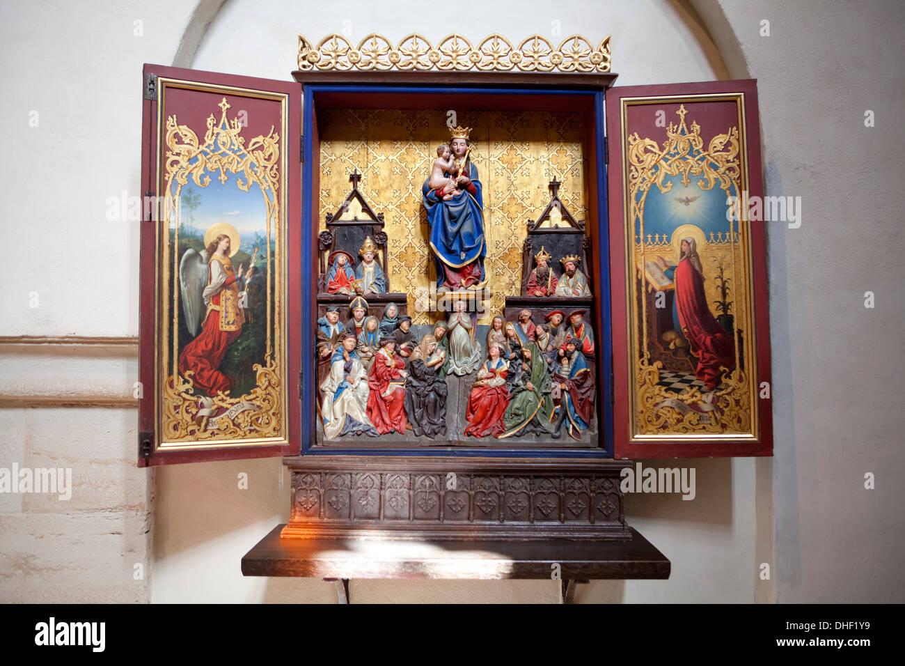 Altar of the Virgin Mary, c. 1500, Cistercian monastery Loccum, Lower Saxony, Germany - Stock Image