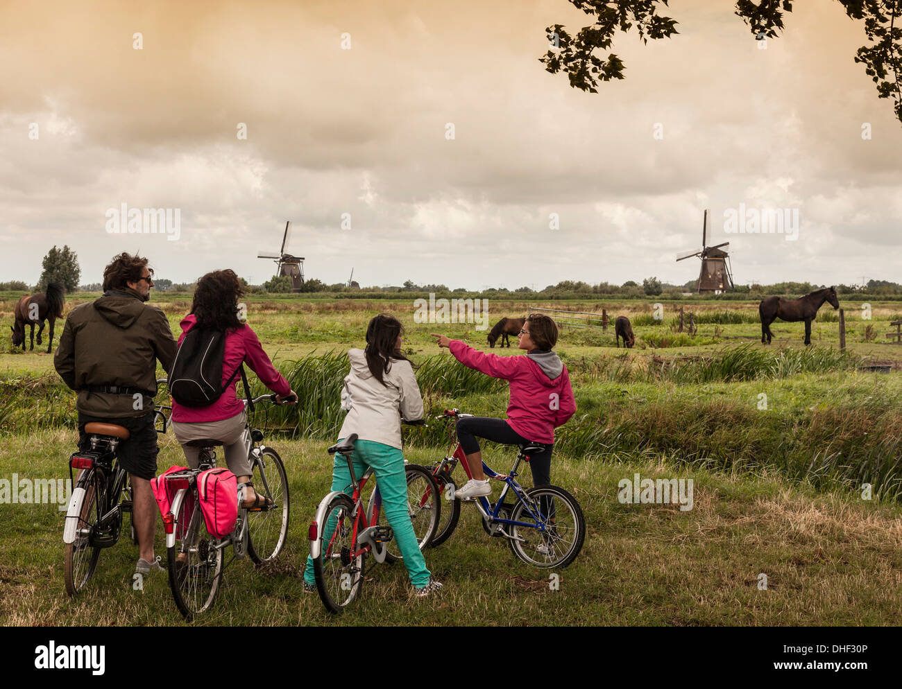 Family with two children on bikes, Kinderdijk, Olanda, Amsterdam - Stock Image