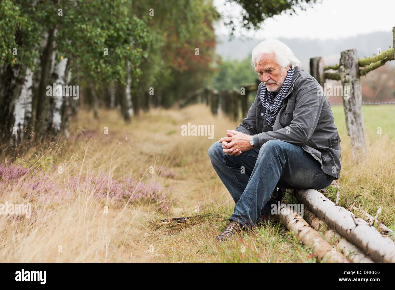 Senior man sitting on log - Stock Image