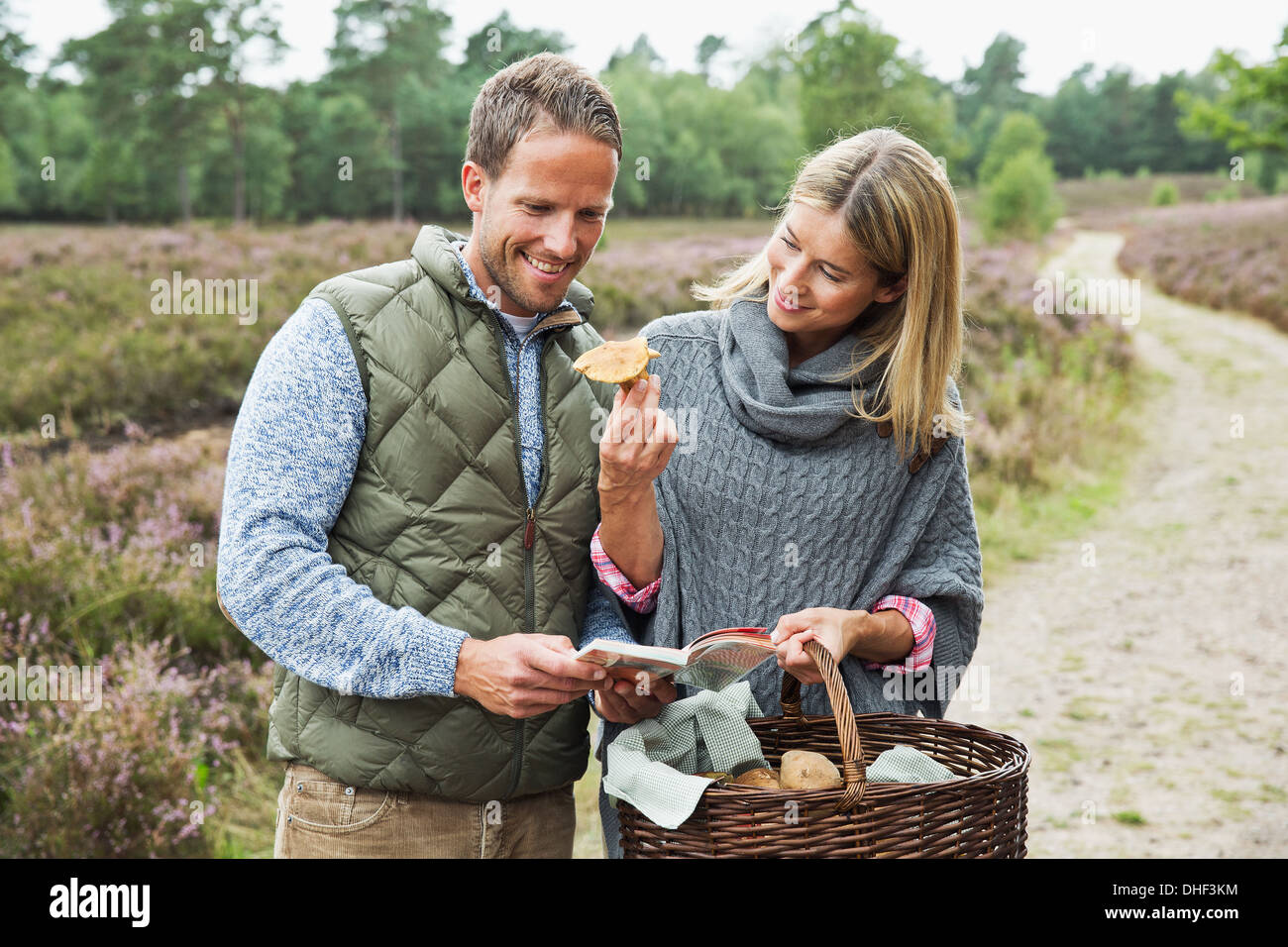 Mid adult couple foraging for mushrooms - Stock Image