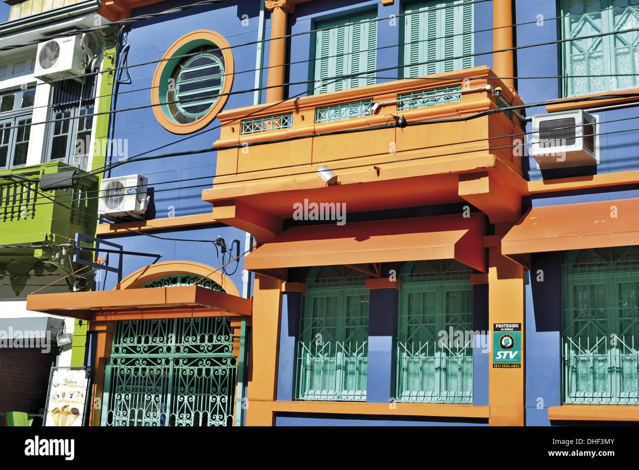 Brazil, Rio Grande do Sul, Porto Alegre, colonial style, building, house, colorful, colors, architecture, travel, Stock Photo