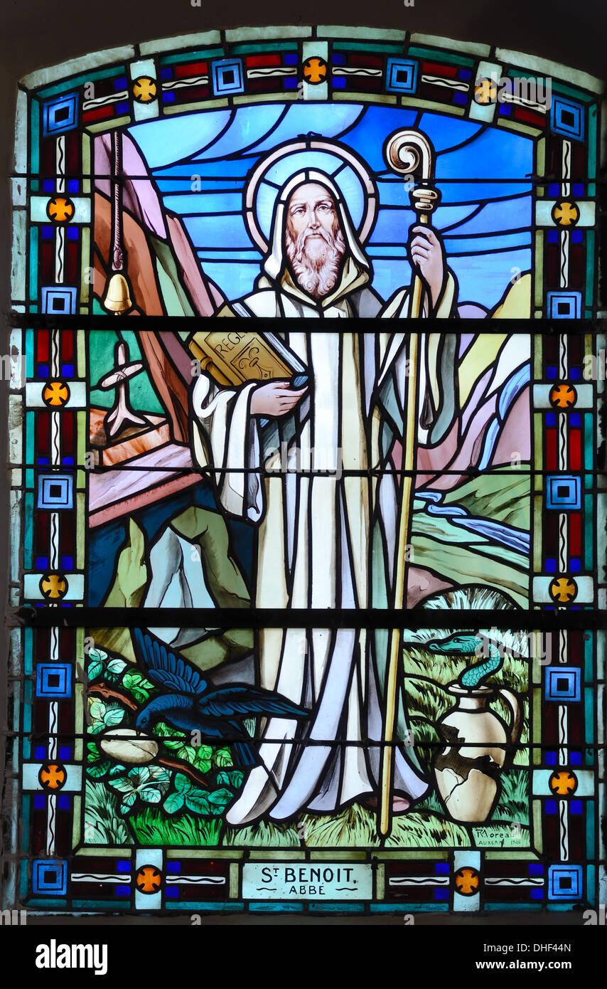 Saint Benoit Stained Glass Window Church of Thomas Becket Avrieux Savoie France Stock Photo