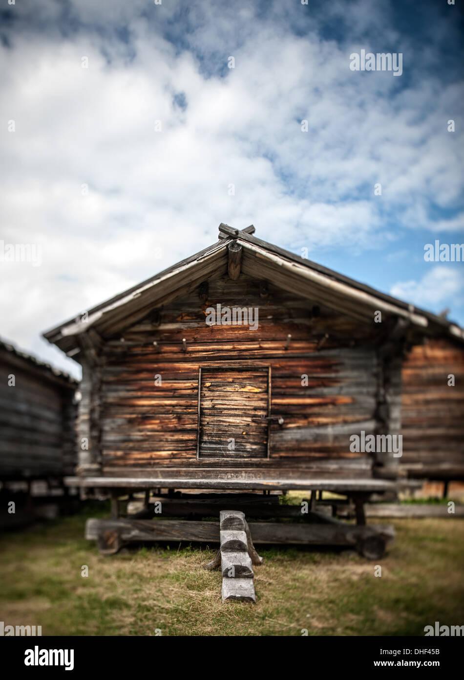 Traditional log cabin, Arjeplog, Lapland, Sweden - Stock Image