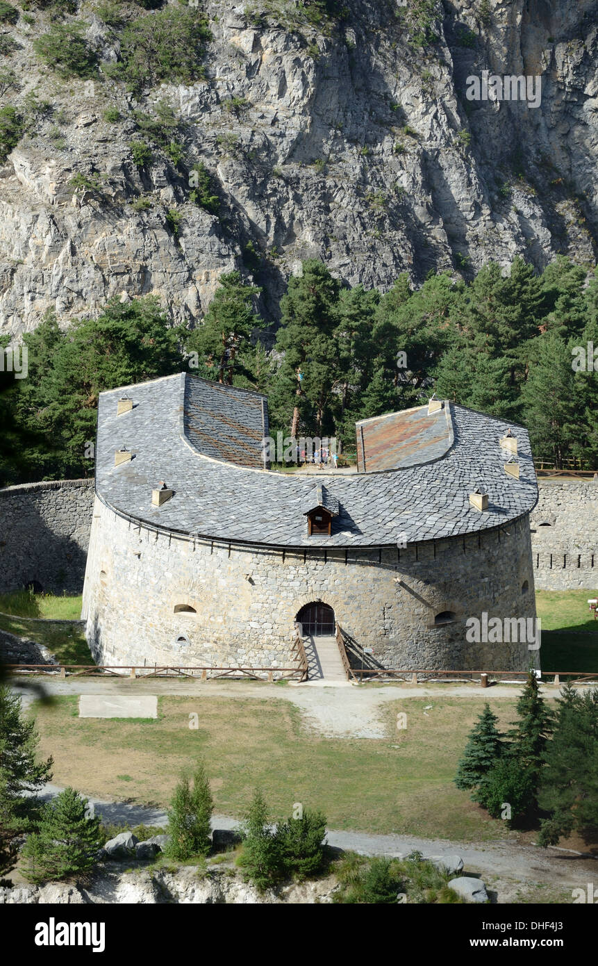 Aerial View of Fort or Redoute Marie-Thérèse (1817-33) Aussois Maurienne Savoie France - Stock Image